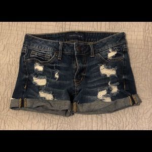 Aeropostale ripped dark denim jean shorts sz 000